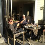 Enjoying the sun and some of that lovely Martinborough wine