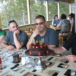 A 40th birthday with the kitchen producing an enormous (whole family) cholcoate cake that was de