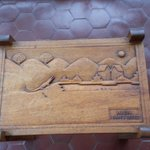 The hand carved patio table