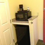 Fridge, microwave, coffee maker