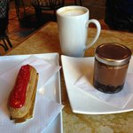 Strawberry eclair | White chocolate latte | Brownie pot