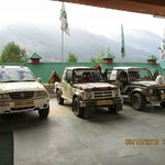 Cars ready for Himalayan Rally --Hotel entrance