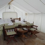 Inside our Deluxe Safari Tent - BEAUTIFUL!