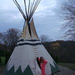 Tipi is in the back yard.
