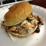 NC Pulled Pork Sandwich (added sweet sauce on top)
