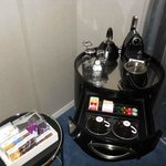 Coffee station and minibar in room