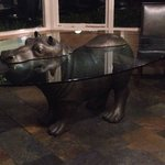Sculptured hippo table