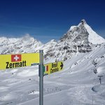 The view from the slopes at Cervinia - the pass to Zermatt.