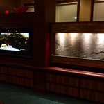 Waterfall & tv in lobby sitting area