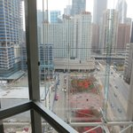 view from glass elevator