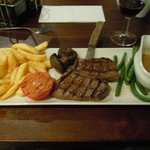 A decent steak and chips in the restaurant