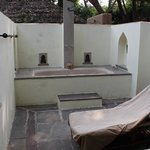 Outdoor, private cottage bathtub with hot solar water & lavender soaking salts
