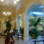 Elegant, historically preserved lobby where breakfast served