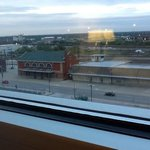 the highway and old train depots that made up view from odd numbered room in north tower