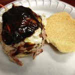 NC pulled pork sandwich (comes with cole slaw on top) and I topped it with sweet BBQ sauce