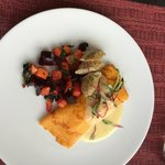 sweet potato crepe with scrambled eggs, beet butternut squash kale hash, turkey sausage