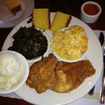 Southern fried chicken breast boneless, mashed, greens, mac 'n cheese