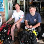 In the dive shop ready to go diving...............