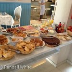 Typical breakfast spread, careful of that chocolate torte…