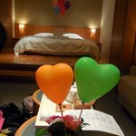 Love balloons in our room courtesy of the hotel.