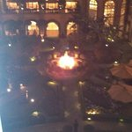 Courtyard at night with fire!