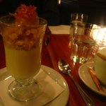 Panacotta Antillais, with a cookie crumble and caramelized pineapple