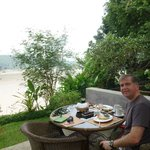 Breakfast in the restaurant overlooking the Mekong