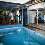 The pool area at Back Yard hostel