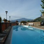 Looking at Etna whilst swimming