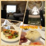 Room, lobby and my breakfast