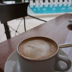 cappuccino by the pool for breakfast