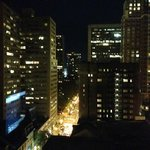 Our awesome view of Walnut Street to Rittenhouse Square  from our 13th floor room