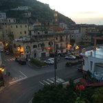 View of Minori at sunrise from the balcony of my room at the Maison Raphael