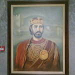 Painting of medieval king near the restaurant