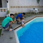 my son, enjoying the pool at java hotel.