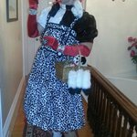 Sean Brown as Dorothy DeVil about to depart from Stepping Stone Inn for the Hawthorne Hotel Cost