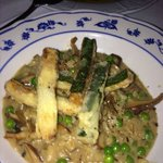 Risotto- mushrooms and petit peas from Provence with crispy zucchini