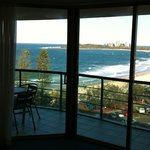 View of Mooloolaba beach from our lounge room