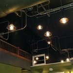 Creative use of lights and fans in the second floor dining area