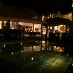 the pool/bar at night