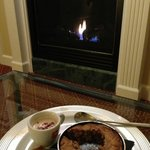 Dessert and fireplace in the cottage