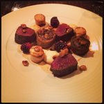 Venison saddle, sausage, potato fondant & blackberry's