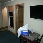 42 flat screen, mini fridge, and microwave