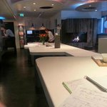 working in the lounge at Qbic Amsterdam