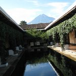 Lap pool with volcano view