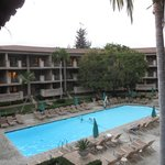 The pool and the balcony rooms in the Lanai Buidling