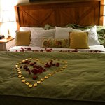 our room set up post-engagement that the staff set up with a bottle of champagne!