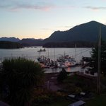 The view of Tofino Harbour and the Fourth Street dock from room 202 at the Tofino Motel