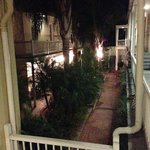 View of the Hermann House courtyard at night.  Charming!