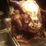 the hog roast we had at the wedding function. scared the kids